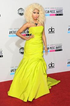 Nicki Minaj arrives at the 40th Anniversary American Music Awards on Sunday, Nov. 18, 2012, in Los Angeles. (Photo by Jordan Strauss/Invision/AP)